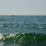 Зеленая морская волна с солнечными бликами